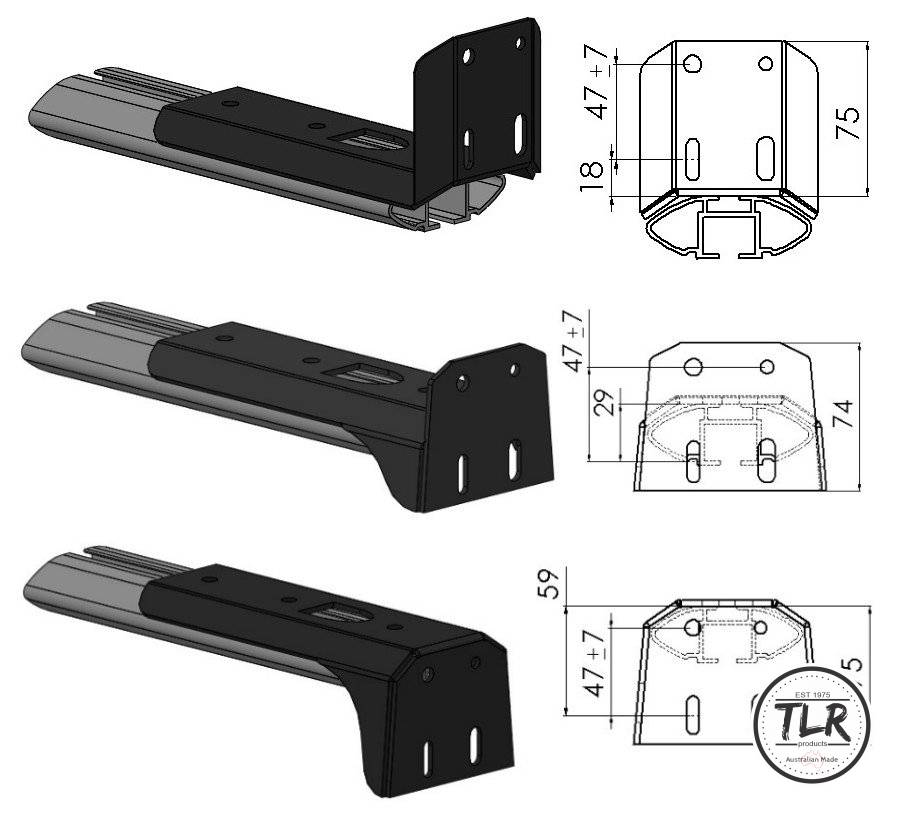 3 styles – awning mount drawings